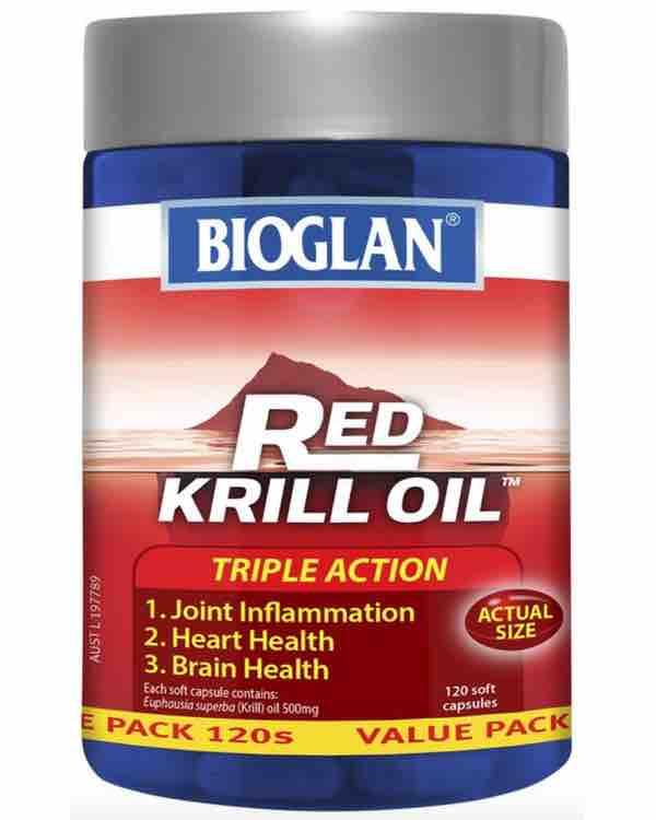 Bioglan Red Krill Oil 500mg 120 Soft Capsules (Bổ trợ não, mắt, tim, xương khớp...)