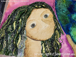hair highlights for mixed media artwork featuring Mother Nature and the Earth by Jenny James