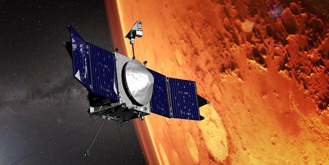 Artist's impression of MAVEN spacecraft orbiting Mars. Credit: NASA