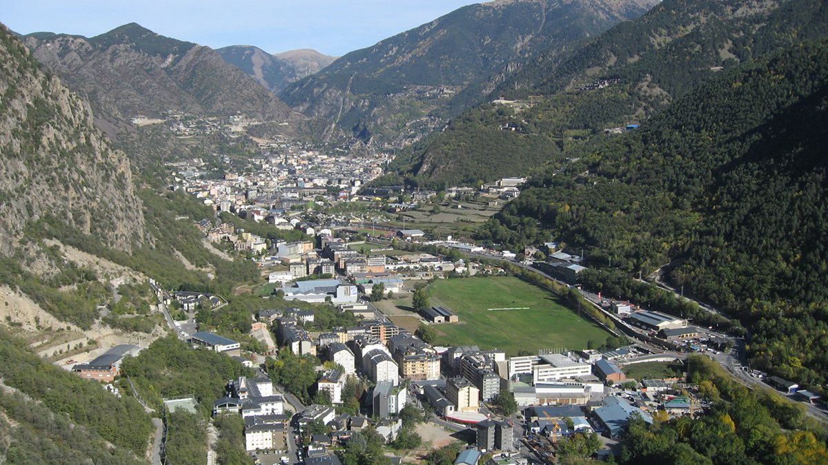 Santa Coloma d'Andorra, with Andorra la Vella in the background