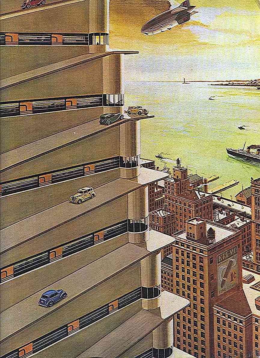 a Bruce McCall humorous illustration of megaparking