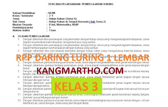 RPP DARING LURING 1 LEMBAR KELAS 3 SEMESTER 1 DAN 2
