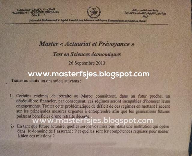 Concours d'accès au Master Actuariat et Prévoyance 2013-2014
