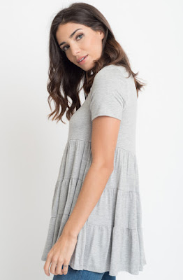 Buy now Grey Short Sleeve Ruffled Tiered Tunic Online $10 -@caralase.com