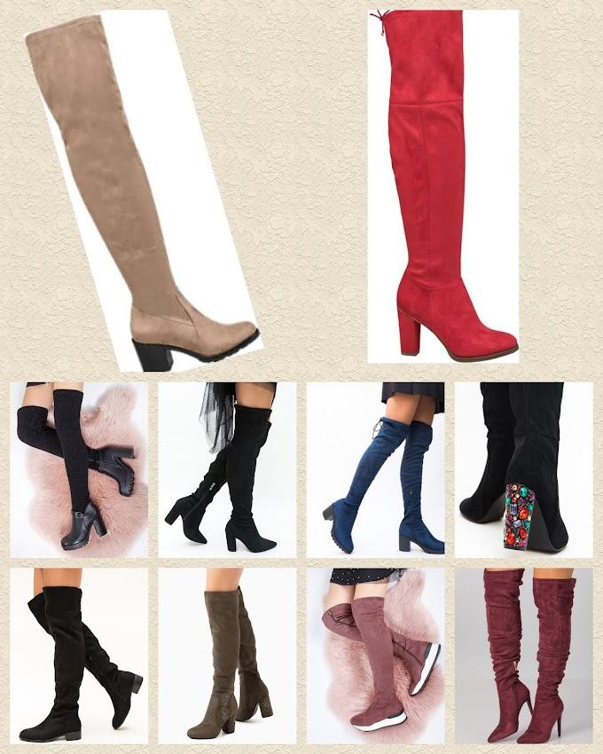 10 perechi de cizme peste genunchi sub 200 de lei
