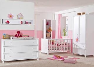 habitación rosa blanco bebé