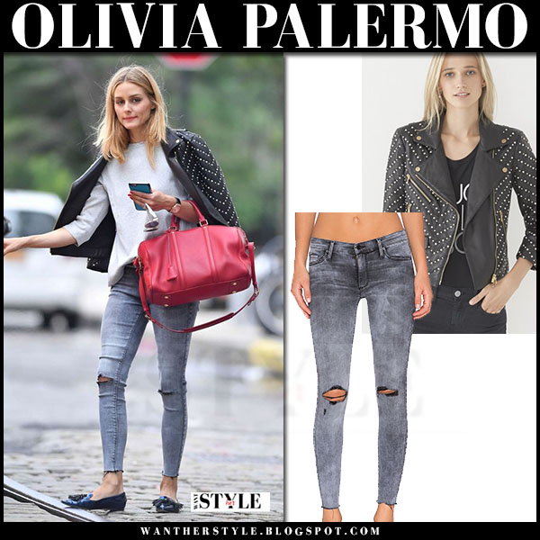 Olivia Palermo in black embellished leather rebecca minkoff jacket, grey ripped jeans and patent flat shoes jimmy choo gabby what she wore