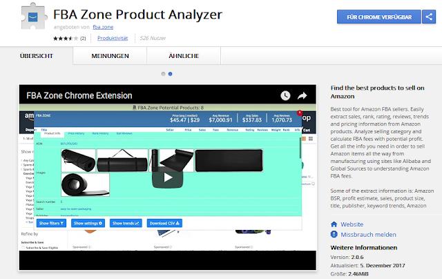FBA zone termék elemző