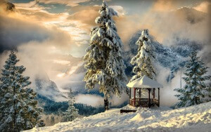 Desktop HD Wallpaper Winter Gazebo Snow Mountains