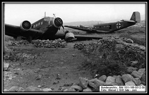 Wrecked Junkers Ju 52 transports 29 May 1941 worldwartwo.filminspector.com