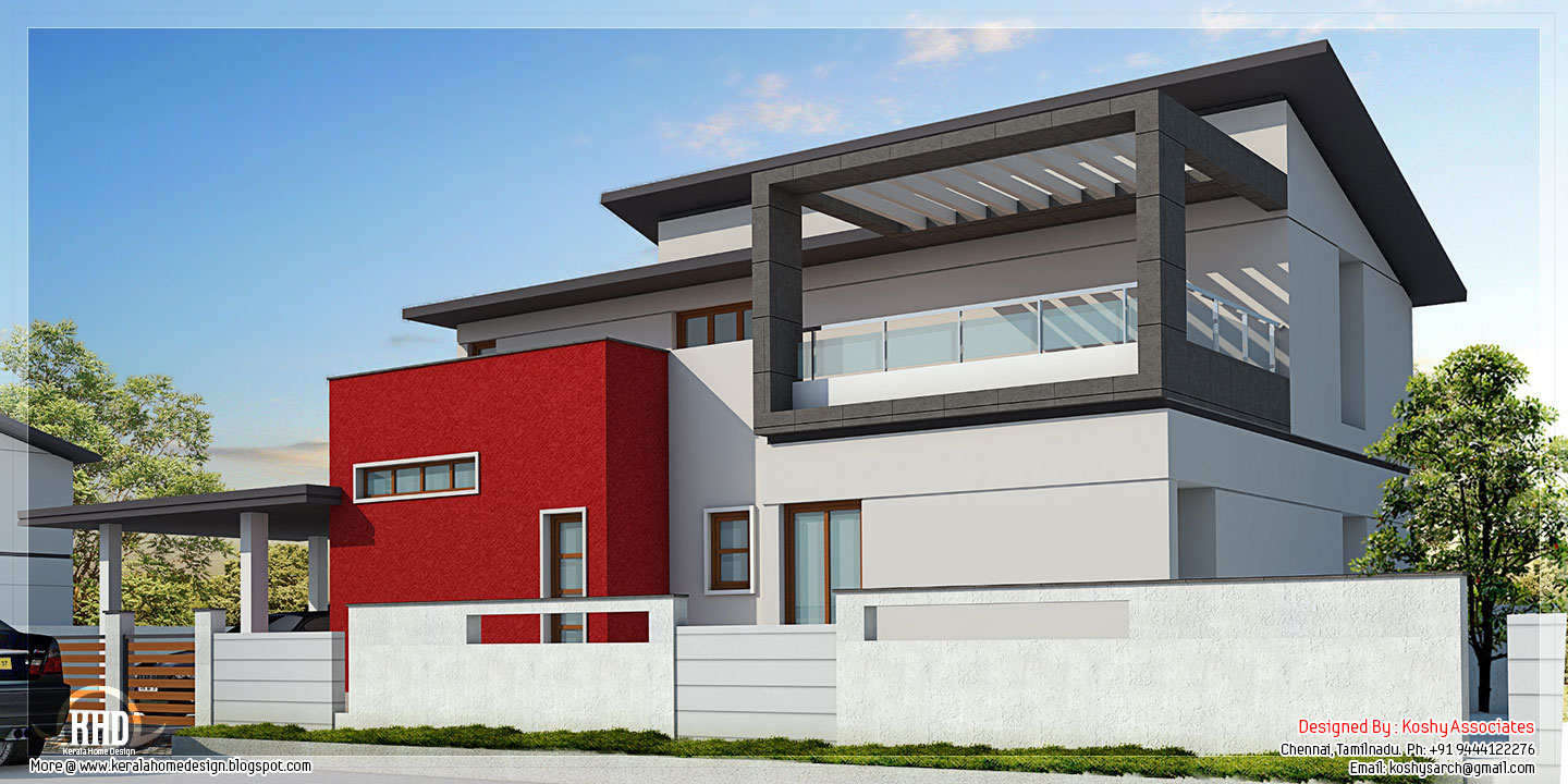 2000 modern contemporary villa kerala home for House plan for 2000 sq ft in india