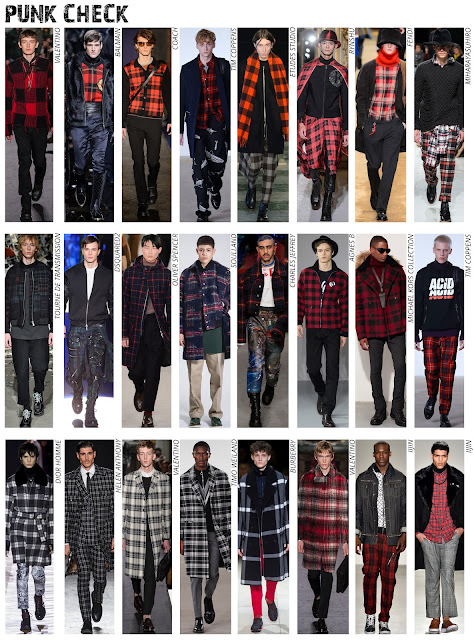 tartan trend, check pattern, check fabric, menswear trend, black and white, red and blank, punk fashion, Autumn/Winter 2016, AW16, print trend, menswear print, Valentino A/W16, Balmain, Coach, Fendi, Alexander Mcqueen, Michael Kors collection