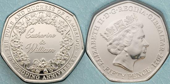 Gibraltar 50 pence 2021 - 10th Wedding Anniversary of Duke & Duchess of Cambridge