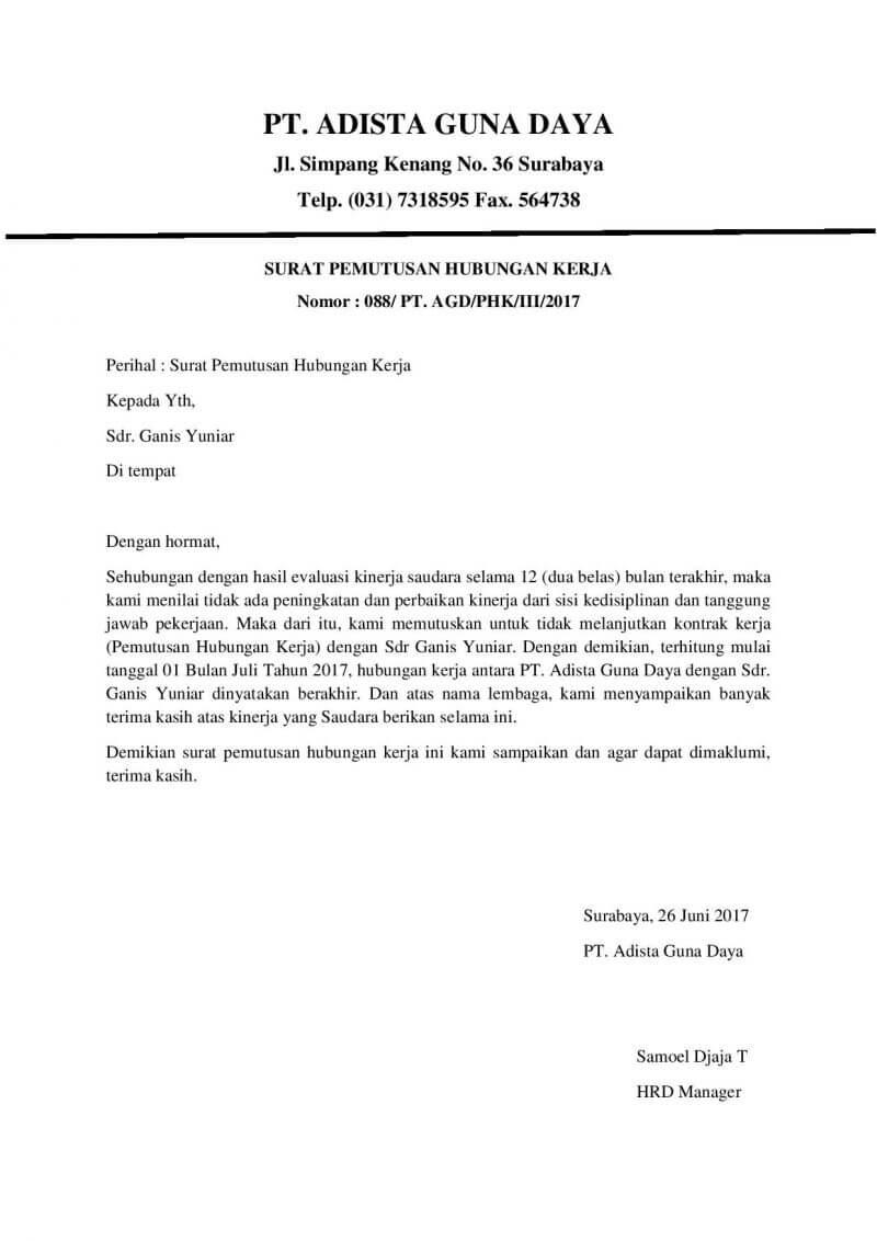 Contoh Surat Pemberhentian Kerja Pemutusan Hubungan Kerja Phk