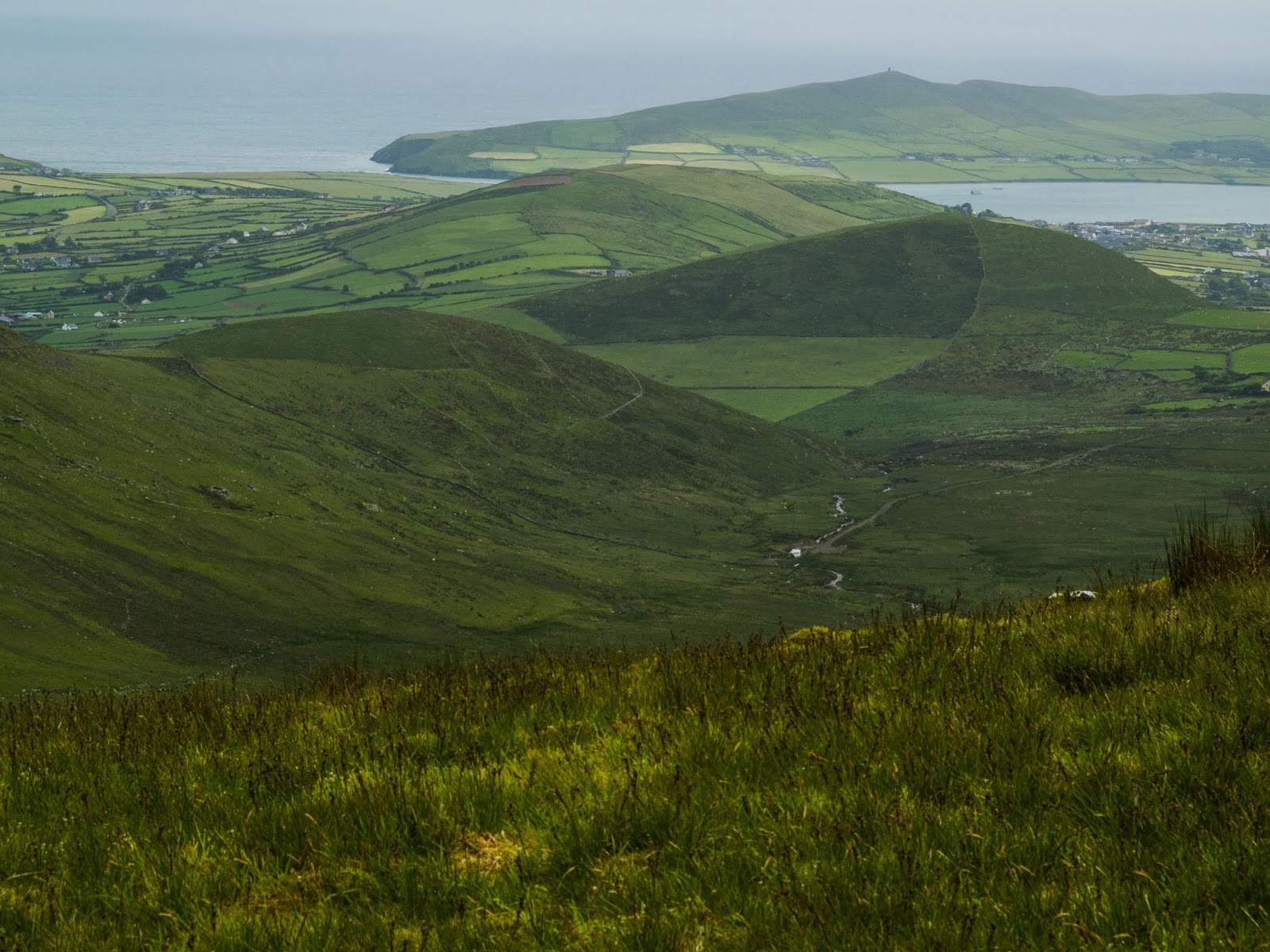 View from Conor Pass of the Dingle Bay and the Atlantic Ocean.