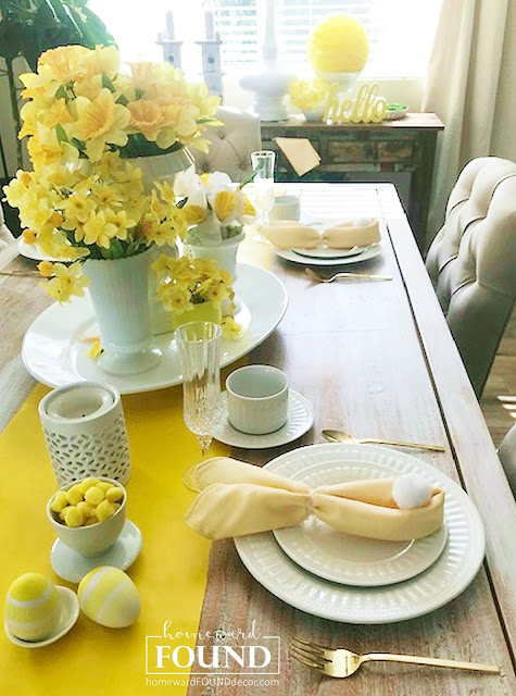 color, color palettes, decorating, DIY, diy decorating, Easter, entertaining, fast cheap and easy, flowers, gift wrapping, spring, Sweet Sweater Bunny Tails, tablescapes, Easter table decor, Easter decorating
