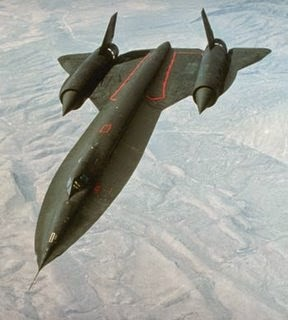 SR71 Blackbird, originally developed and flown out of Area 51