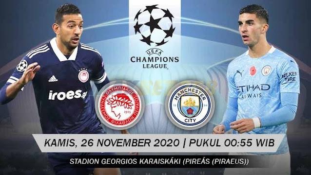 Prediksi Olympiakos Vs Manchester City, Kamis 26 November 2020 Pukul 00.55 WIB @ SCTV