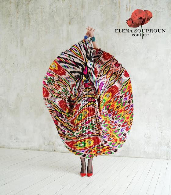 uzbekistan pleated silk ikat, uzbekistan ikat textile tours, central asian art craft textiles