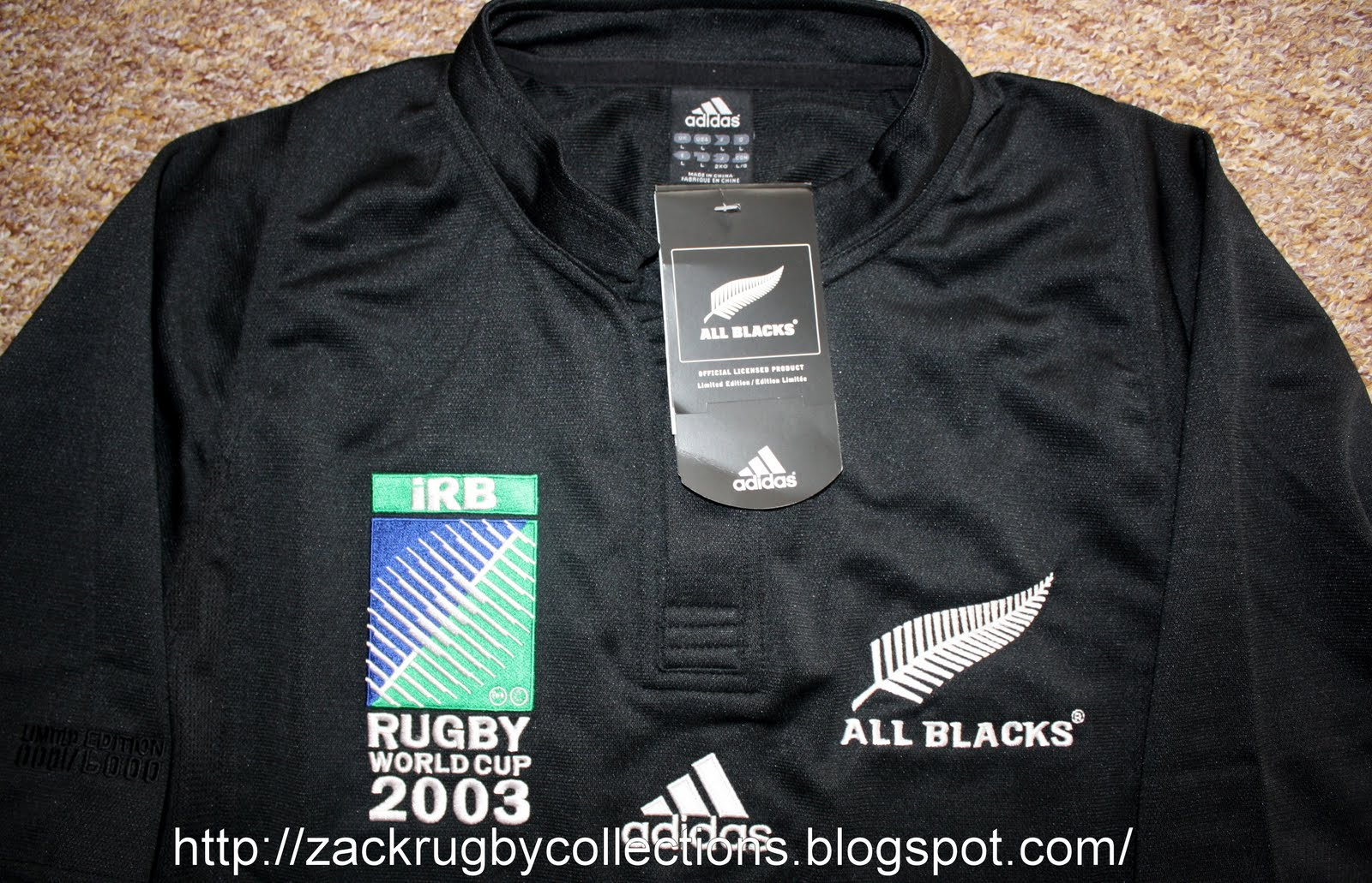 258b5f83edf Special Edition: New Zealand All Blacks SS Rugby World Cup 2003 LTD Edition  Rugby Jersey
