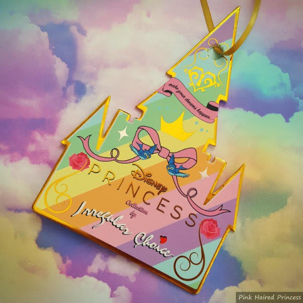 rainbow striped castle shaped card tag with Irregular Choice and Disney branding