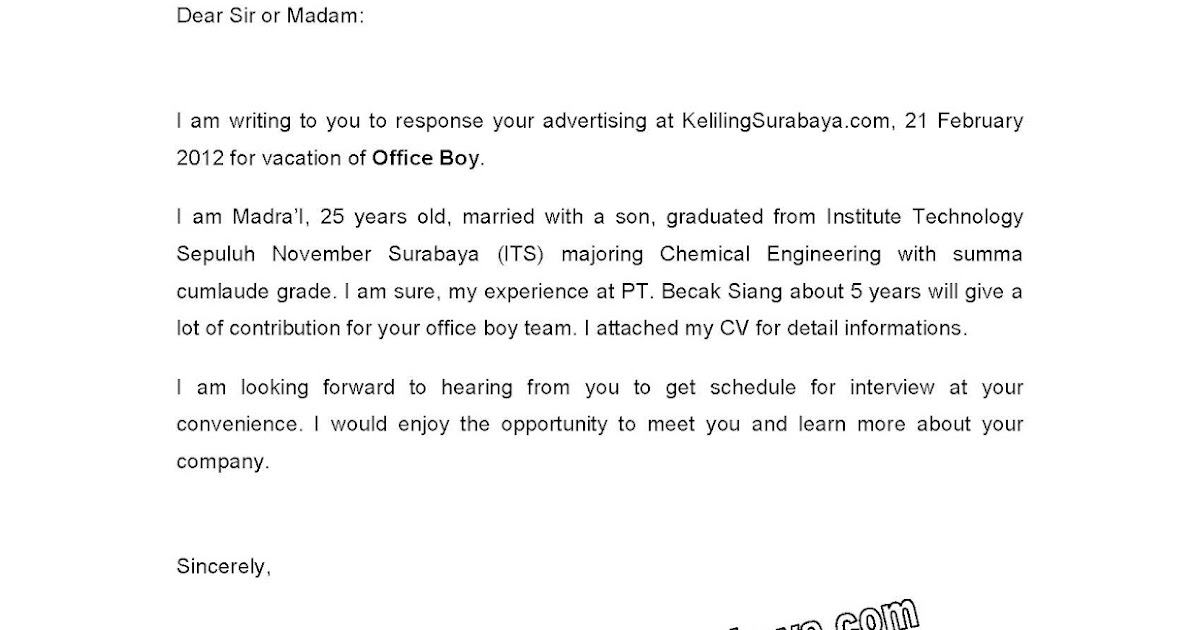 contoh cover letter email bahasa inggris