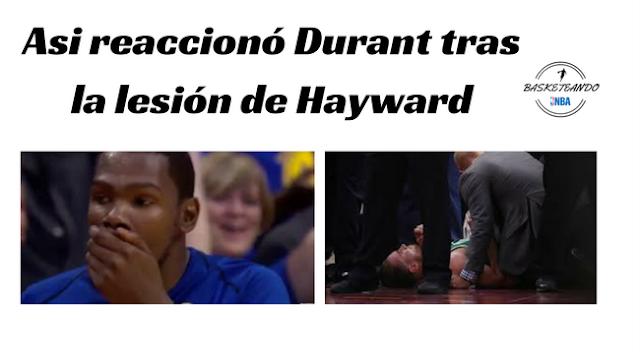 Asi reaccionó Durant al ver el momento en que el alero de los Boston Celtics se fracturará el tobillo