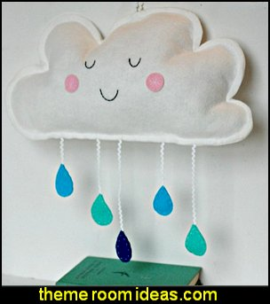 Cloud Wall Hanging Nursery Decor Kids Room Decoration Baby Mobile Plush Cloud with Raindrops