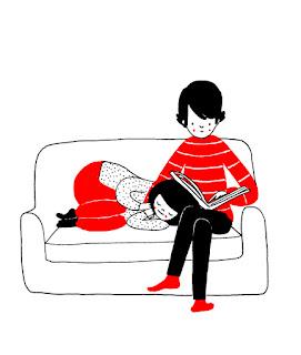 Ilustração retrata os dois no sofá - ele lendo um livro, enquanto ela dorme com a cabeça encostada no colo dele.