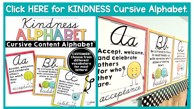 kindness cursive alphabet printable PDF