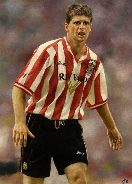 Sunderland football hero Niall Quinn caught in oil by Artist John Allsopp