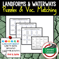 Landforms, Waterways, Earth Science Review Puzzles BUNDLE, Interactive Digital Notebook, Google Link, or PRINT Version, Test Prep, Unit Review, Vocabulary Activity, Earth Science Puzzles, Vocabulary, Test Prep, Unit Review