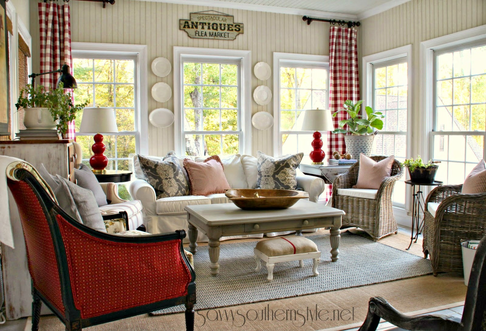 Savvy Southern Style : New Red & Gray Additions In The Sunroom