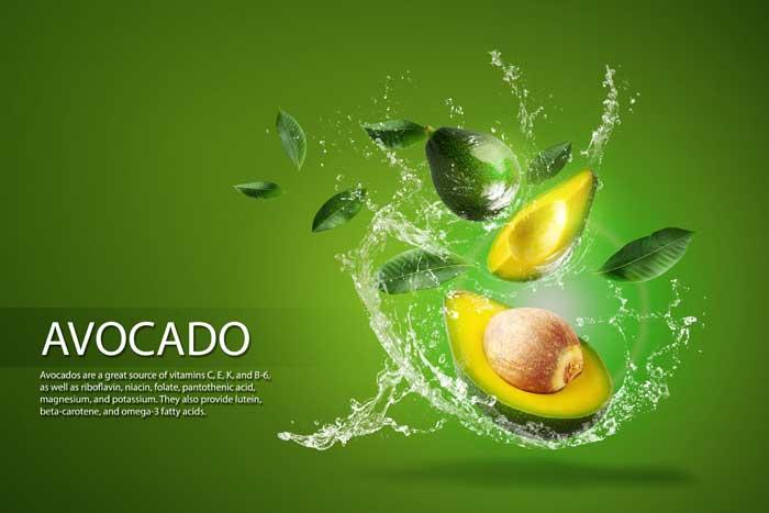Fresh Sliced Green Avocado Water Splashing PSD Template