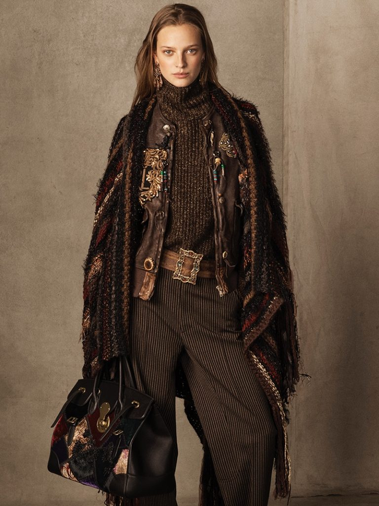 Ralph Lauren Collection 'Hamlin' Leather Vest, Cashmere Funnelneck Sweater, 'Celessee' Striped Wool Pant and Ornate-Buckle Leather Belt