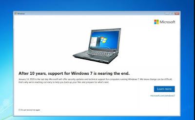A Windows 7 upgrade notification