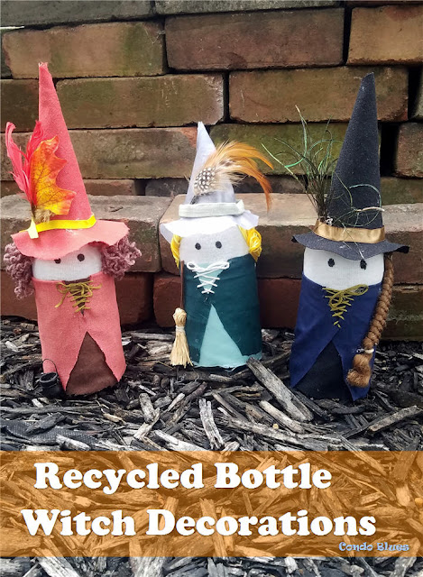 how to make recycled glass bottle Halloween decorations