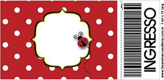 Ladybug Party  Free Printable  Ticket Invitations.