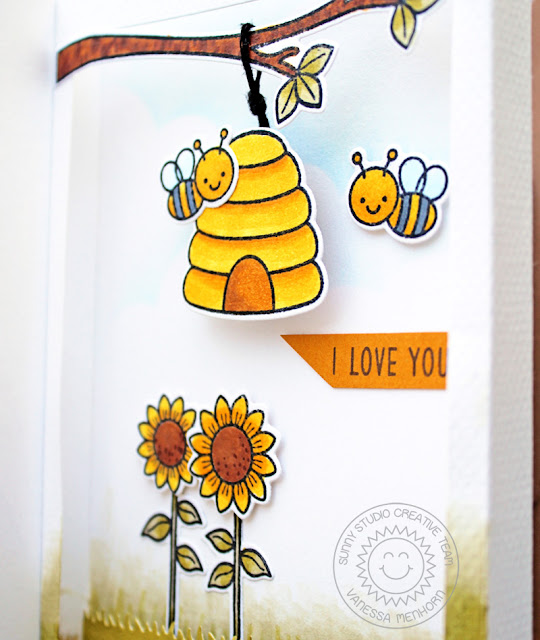 Sunny Studio Stamps: Just Bee-cause Fluffy Clouds Frilly Frame Dies Fancy Frame Dies Love You Card by Vanessa Menhorn