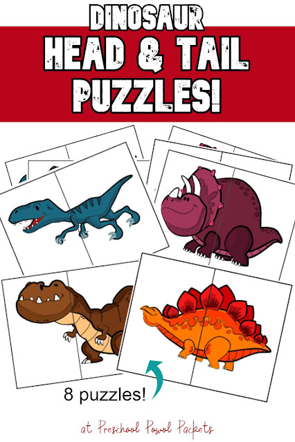 Dinosaur Puzzles for Preschoolers - Free Preschool Activities