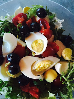 Salad with Hard Boiled Eggs, Olives, Red Peppers