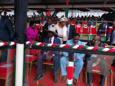 Raila Odinga in Nyeri with the President during Madaraka day celebrations. PHOTO | Courtesy