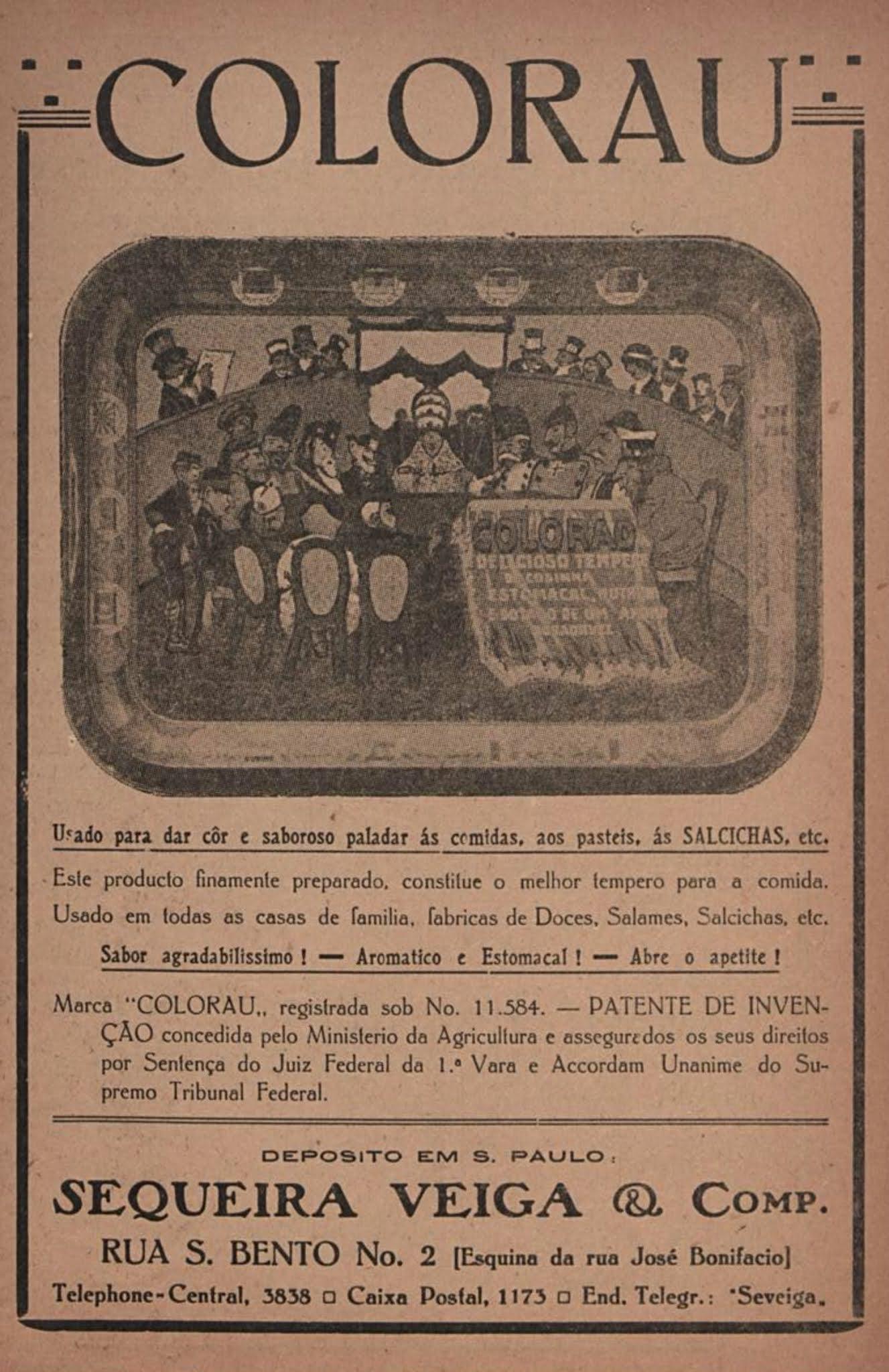Anúncio antigo de 1918 apresentando ao público os benefícios do Colorau