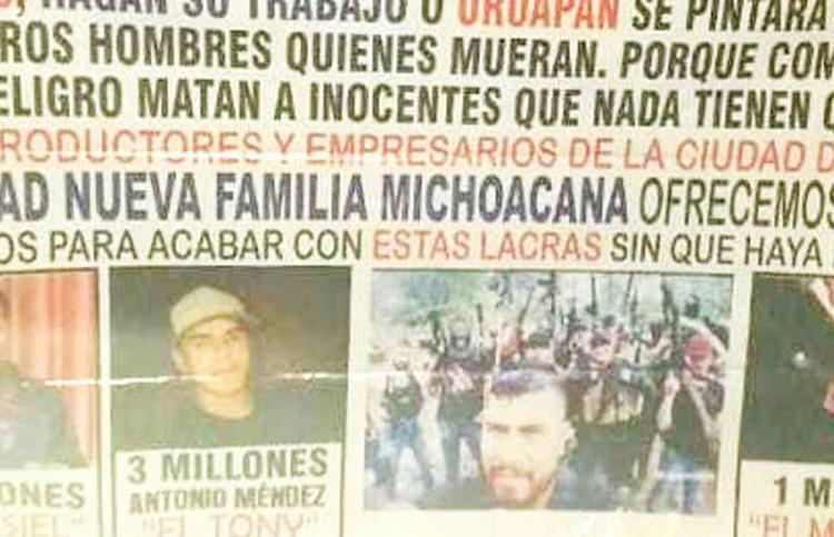 """""""Los que traen su desmadre en Uruapan"""" Sicarios de la LNFM deja narcomanta donde exhiben y ofrecen recompensa por desertores del cartel"""