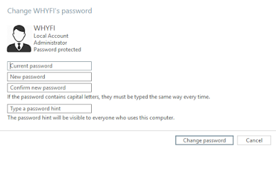 chage password user account windows 10