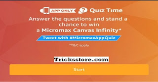 amazon app quiz win micromax canvas infinity smatphone free