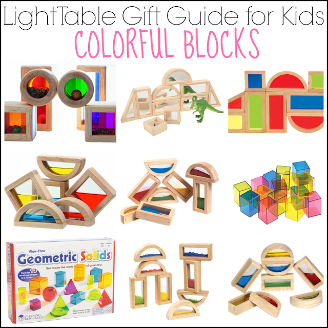 Light Table Gift Guide for Kids: Colorful Blocks for Light Table Play from And Next Comes L