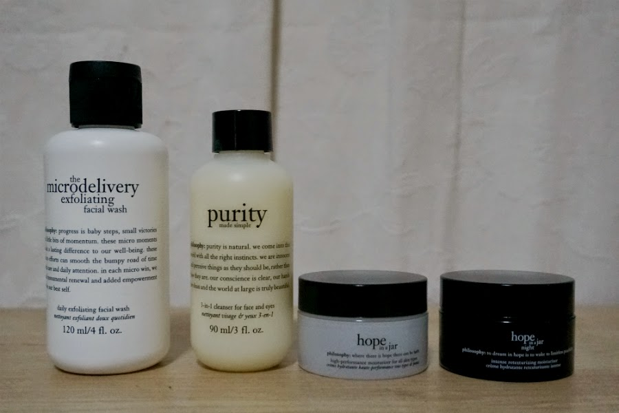 The Microdelivery Wash 120ml, Purity Made Simple 90ml, Hope in a Har 15ml, and Hope in a Jar Night 15ml