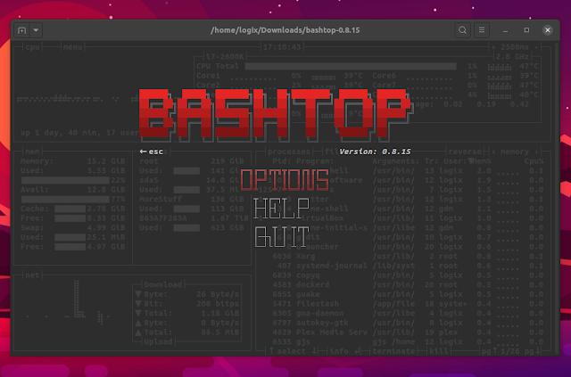 Bashtop menu