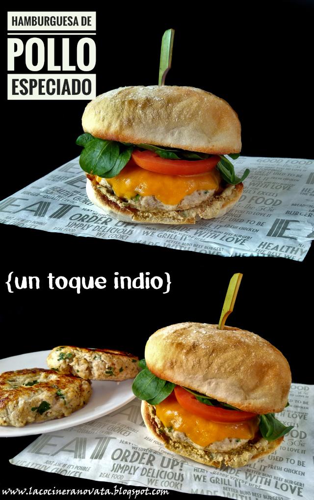 hamburguesa De Pollo Especiado {un Toque Indio}
